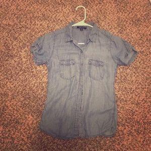 Women's short sleeve jean shirt button up